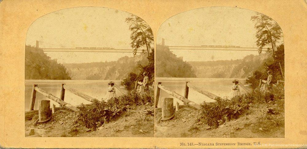 Images stéréoscopique William England Niagara Suspension bridge 1859